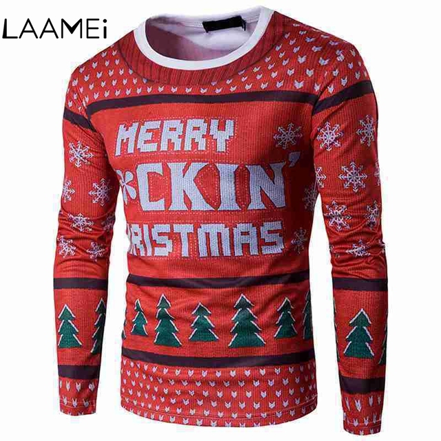 Laamei Men's Slim T-shirt Long-sleeved Fashion 3D Print Santa Claus Round NeckTshirt 2018 New Male Casual Christmas Tshirts
