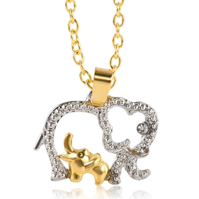 PIXNOR Elephant Mom and Child Pendant Necklace Charm Jewelry Mummy&Daughter Choker for Mother's Day Kids Birthday Gifts