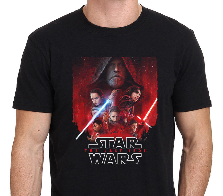 Star Wars Mens The Last Jedi Character Poster T-Shirt Black : S-3XL Style Vintage Tees Short Sleeve Funny Top Tee T Shirt