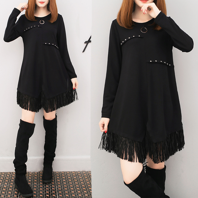 2018 Spring And Autumn Korean Plus Size Loose Black Long T-shirts Tassel XXXXXL O-neck Tops Fashion Shirts Womens