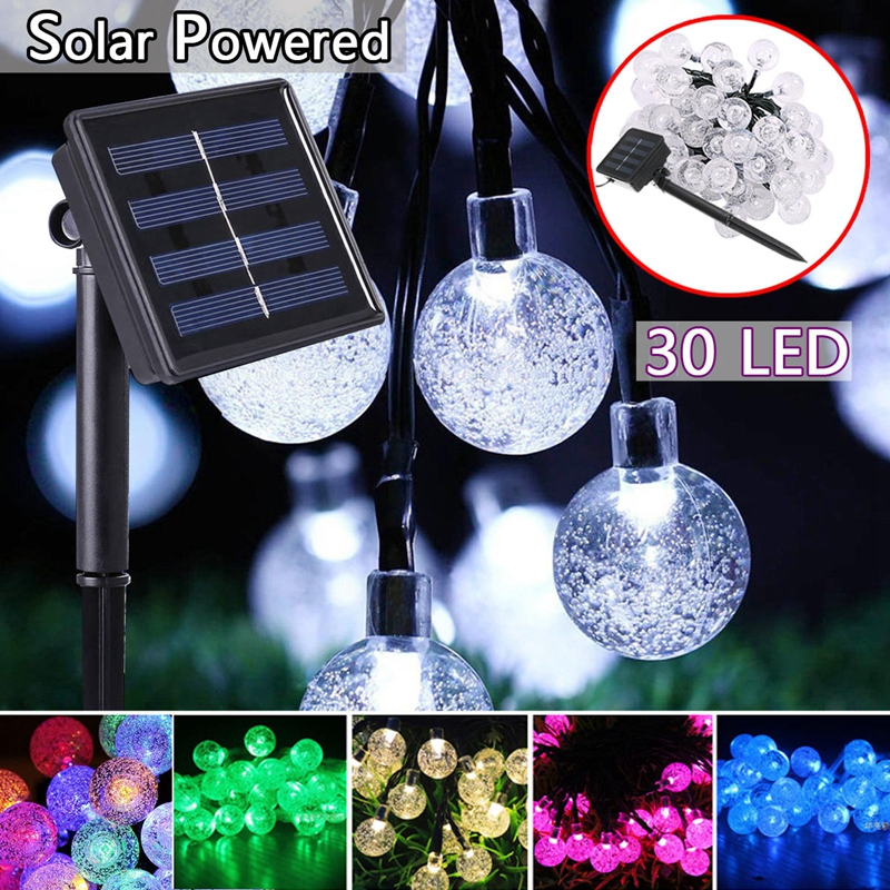 Solar Powered 6M30LEDS Waterproof Solar Crystal Ball Fairy String Light For Garden Christmas Wedding Party Decor Holiday in Solar Lamps from Lights Lighting
