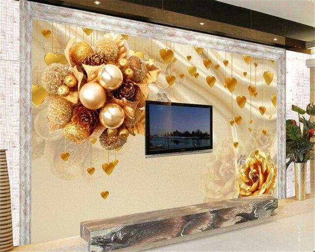 beibehang aangepaste behang europese luxe gold rose achtergrond muur woonkamer slaapkamer tv sofa achtergrond muurschildering 3d