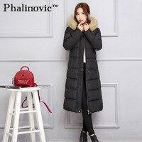 Phalinovic 2017 Hooded Female Coat Black Winter Jacket Winter Thick Warm Fur Coats Extra Long Cotton Padded Women Fur Jacket