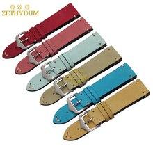 Correa hecha a mano 20 22mm correa de reloj de pulsera de cuero genuino esmerilado banda correas de reloj de pulsera gruesa cosida pulsera
