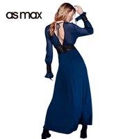 Asmax 2017 Solid Navy Blue Sexy Dress Women Deep V Neck Side Split Backless Maxi Dress