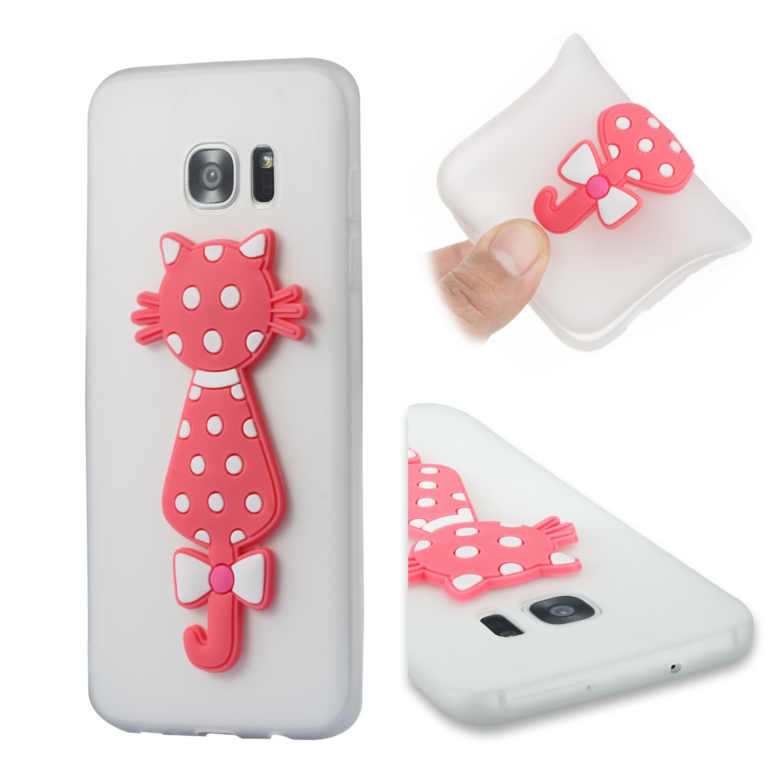Silicone Cartoon 3D Cat TPU Cover Cubierta Phone Case Bag Kryty Shell For Samsung Sumsung Samsug Galaxy Galax S7 Edge SM G935F