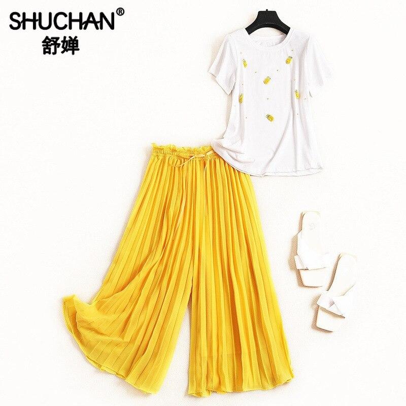 Shuchan 2 pièces ensembles femmes tenues Appliques ananas coton blanc t-shirt + pantalon plissé deux pièces ensemble pantalons et haut 51106