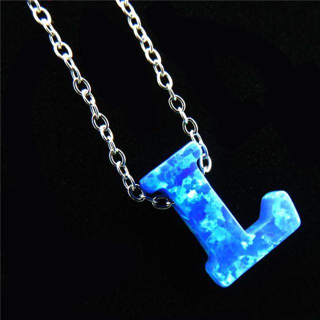 21654 Blue Fire Opal Pendant Alphabet L Letter Necklaces Name