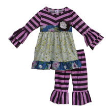 Free Shipping Fall Winter Boutique Children Clothing Sets Mustard Pie Remake Kids Clothing Toddler Girls Violet