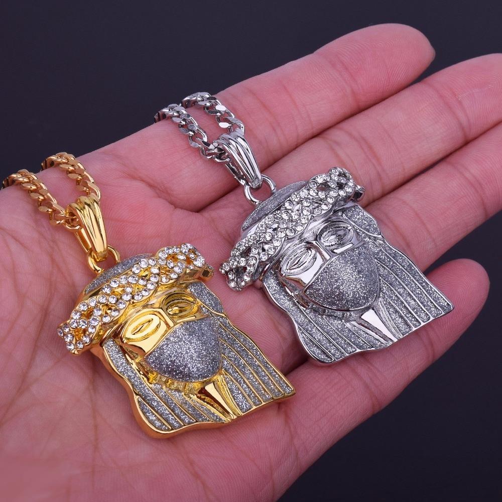 Sand Blast Jesus Head Pendant Gold Silver Color Zinc Alloy With ...