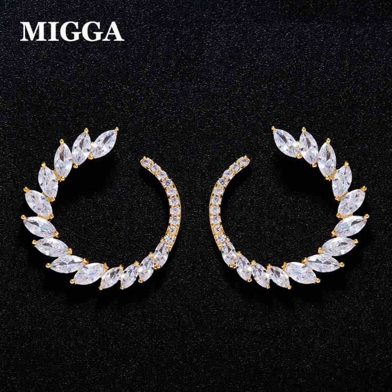 MIGGA High Quality Olive Branch Marquise Cubic Zircon Crystal Stud Earrings Gold Color CZ Stone Brincos for Women