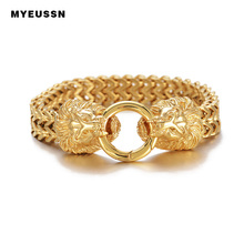 316L Stainelss Steel Lion Head Bracelet Clasp Double Foxtail Box Link chain bangle Men Gift Charm Fashion Hip Hop Jewelry