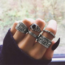 34 Style Deadly Black Vintage Knuckle Rings for Women Boho Geometric Flower Crystal Ring Set Bohemian Finger Jewelry(China)