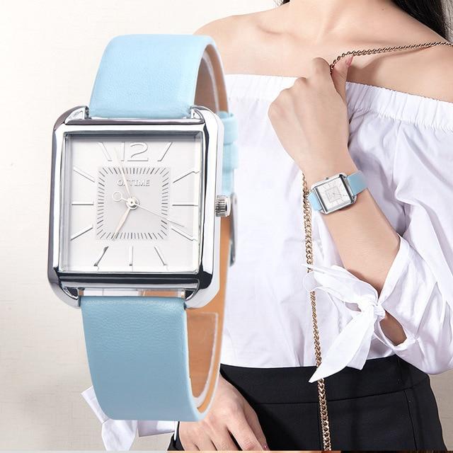 Oktime Classic Watches Women Vintage square Scale Casual Quartz Watch Ladies Fas