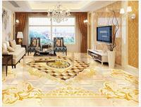Custom photo wallpaper 3d flooring painting wallpaper murals Golden noble European royal style floor tile 3d room wallpaer decor