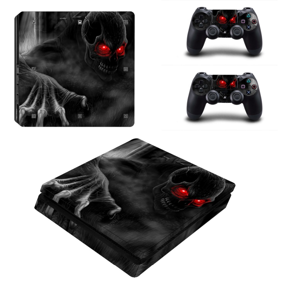 Protetive Vinyl skin For PS4 Slim Sticker For Sony Playstation 4 Slim Console+2 controller Skin Sticker For PS4 S Skin 3