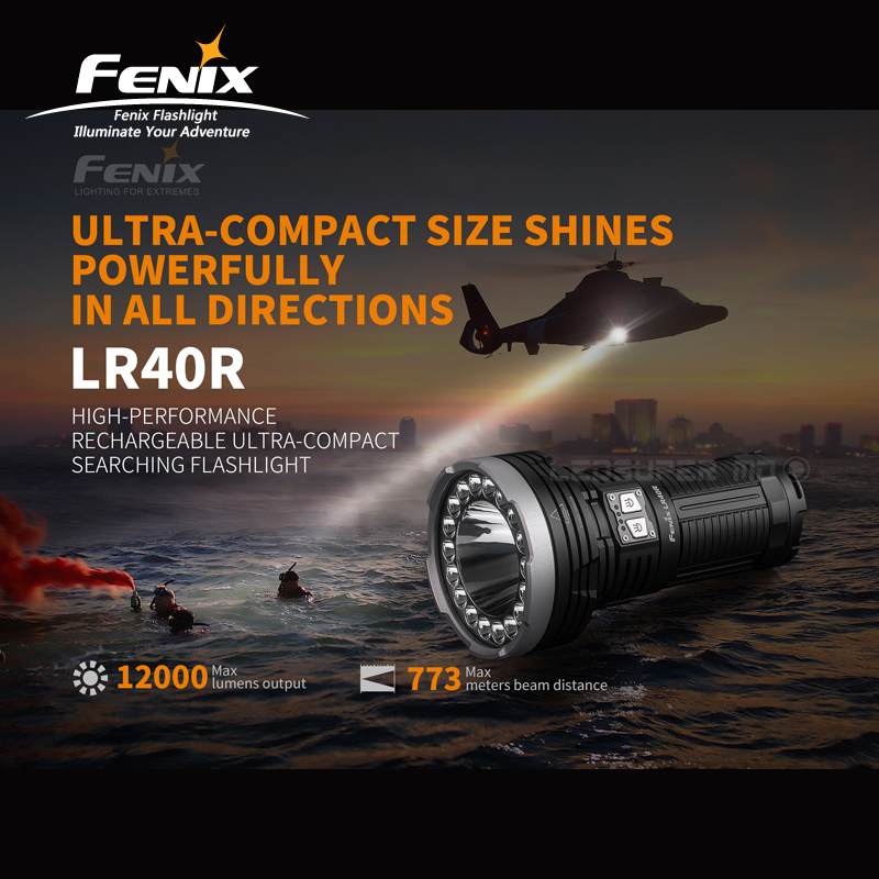 12000 Lumens Fenix LR40R High-performance Rechargeable Ultra-compact Searching Flashlight With Li-ion Battery Pack