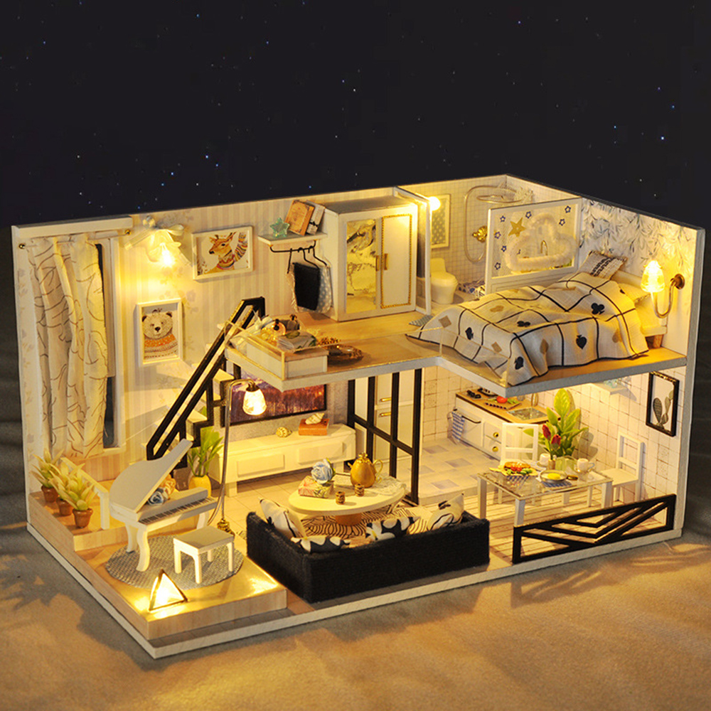 DIY Miniature Room Wooden Doll House Light Shadow of Time with Furniture LED Lights Dust Cover Dollhouse Toys for Children