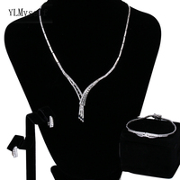 Cheap price wholesale supplier 3pcs jewelry set for women Necklace Earrings Bracelet Silver plate elegant small jewelry sets