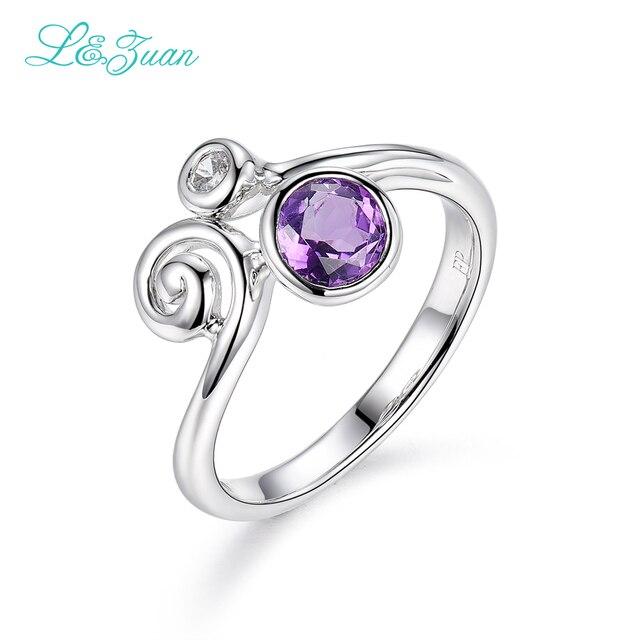 L & цзуань 925 стерлингового серебра 0.99ct Аметист Фиолетовый Каменный Зубец Параметр Кольцо Ювелирные Изделия для Женщин Подарок