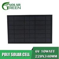 6Vdc 1670mA эпоксидная поликристаллическая Кремниевая батарея DIY 10 Вт 10 Вт солнечная панель стандартный модуль заряда питания мини Солнечная со...