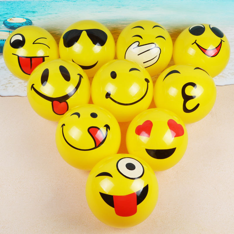Beach Balls Inflatable Pool Toys 10 Pack PVC Emoji Beach Balls For Pool And Beach Party Favors Swimming Water Toys For Kids 25CM