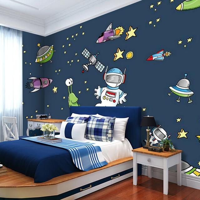 . US  50 63 11  OFF 0 53x10m mural cartoon 3D universe starship pattern non  woven wallpaper kids room boys bedroom classroom decoration wallpaper in