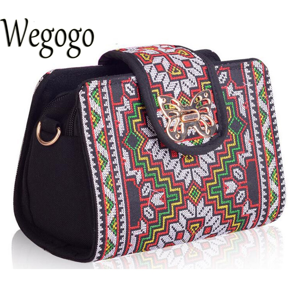 Wegogo Women Bag Ethnic Vintage Embroidered Canvas Cover Shoulder Messenger Bags Hmong Handmade Embroidery Small Day Clutch Bag