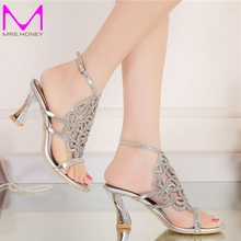 2016 Women Summer Sandals High Quality Silver Rhinestone Bridal Dress Sandals For Summer Open Toe Sparkling Wedidng Party Shoes