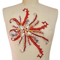 Красный кристалл аппликация для платья аппликации горный хрусталь вечерние платья для выпускного вечера свадебное платье свадебные створ...
