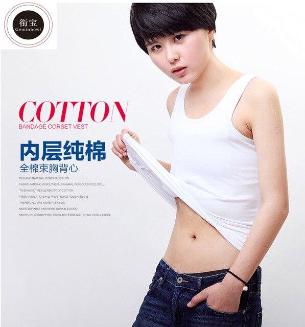 Geminbowl Flat Slim long Vest  sport outdoor YOGA clothing cotton Chest/Breast Binder lesbian Undershirt corset Bustiers Tomboy