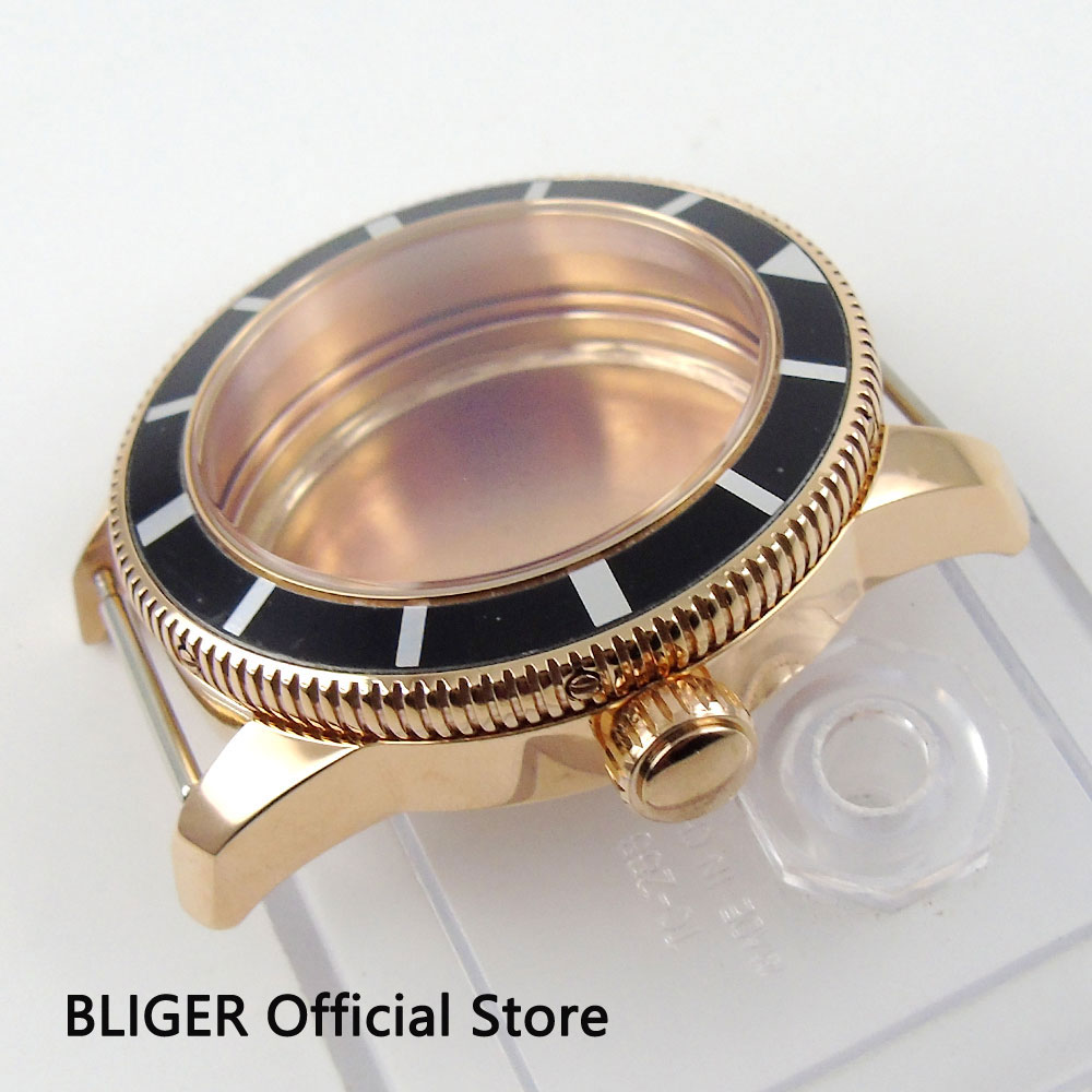 Solid 46MM Rose Gold Stainless Steel Black Rotating Bezel Watch Case Fit For ETA 2824 2836 MIYOTA 8215 Automatic Movement C92