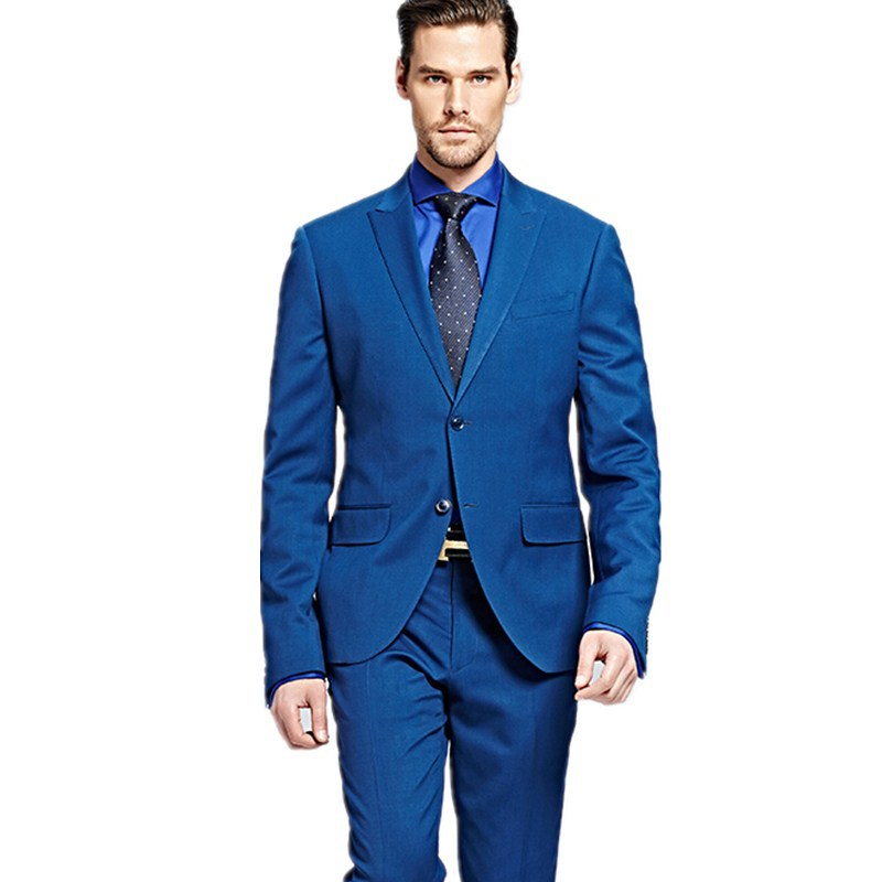New custom men\'s groom suits blue single breasted Business Formal ...