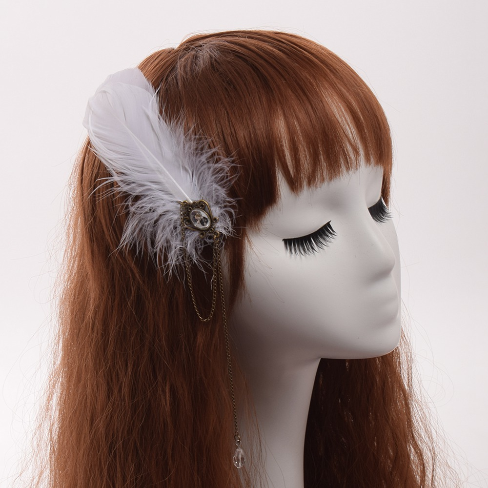 Vintage Lady Steampunk Feather Hair Clip Punk Gothic Chain Pendant Women Headwear