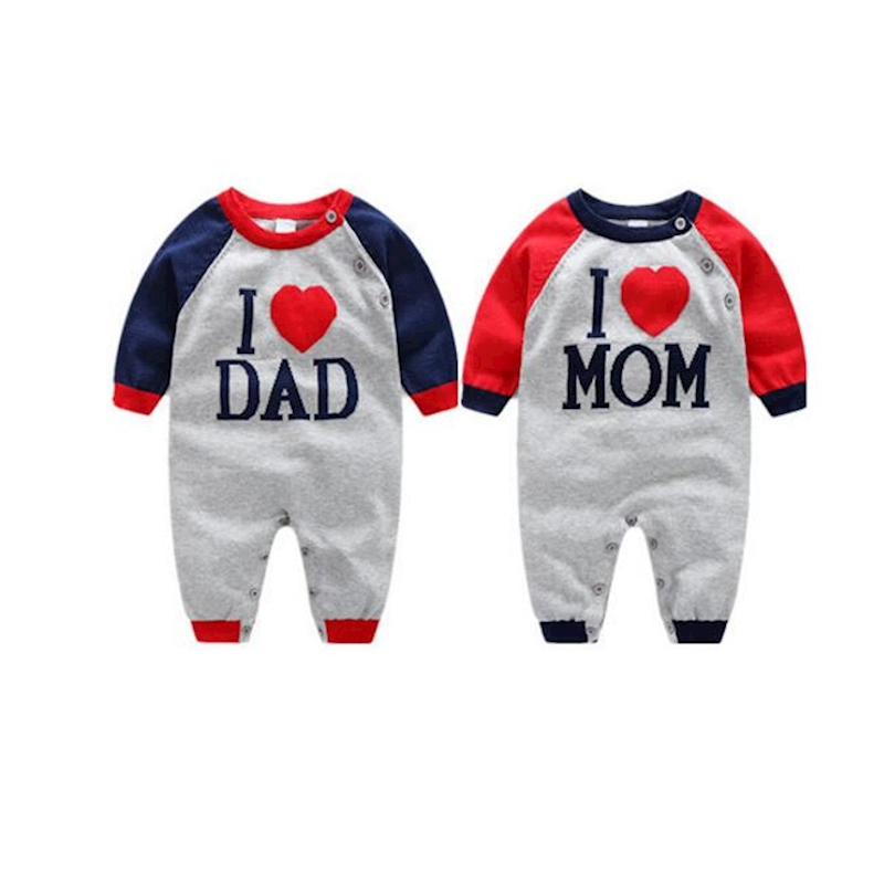 Myudi – 2016 Baby 100% Cotton Sweater Newborn I love Dad Mom Letter Coat Toddler one-piece Romper Boys Girl Outwear for Children