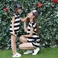 Черный белый полосатый мать и дочь одежда летний комплект T - шорты девушки две части с капюшоном семьи соответствующие наряды