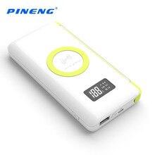 100% d'origine pineng 10000 mah sans fil charge batterie externe portable mobile power bank lumière intégrée avec wpc q standard