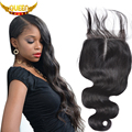 Brazilian Virgin Hair Lace Closure Body Wave 4x4 Human Hair Closure Free&Middle Part Brazilian Body Wave Closure With Baby Hair