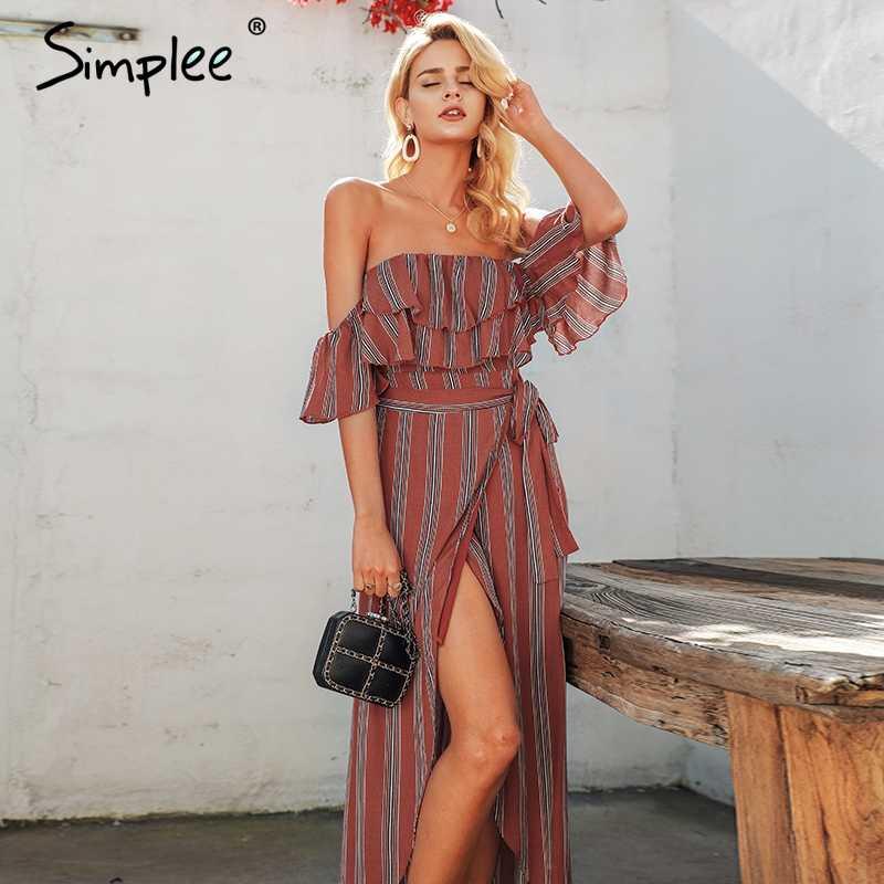 Simplee Gợi Cảm Sọc Nữ Dài Đầm Linen Suông Lệch Vai Xù Chia Đầm Mùa Hè Nữ Vintage Ngày Lễ Biển NhanhMua 2018