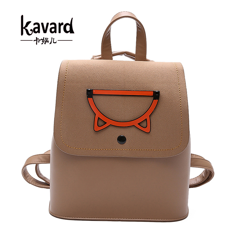 Kavard Fashion Cute Cartoon Women Backpack School Bags For Teenagers Girls Designer PU Leather Backpack Women Small Bagpack New fashion women pu leather panda backpack teenagers girls cartoon school bags student book bag cute black white patchwork design