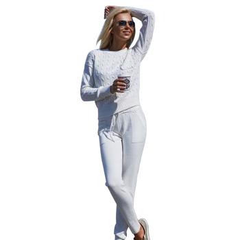 MVGIRLRU kobiety sweter kombinezon na co dzień dzianinowe swetry spodnie 2 sztuka zestaw damskie dresy tanie i dobre opinie REGULAR O-neck Pełna Elastyczny pas COTTON Octan Akrylowe Mikrofibra Pełnej długości Stałe Kieszenie