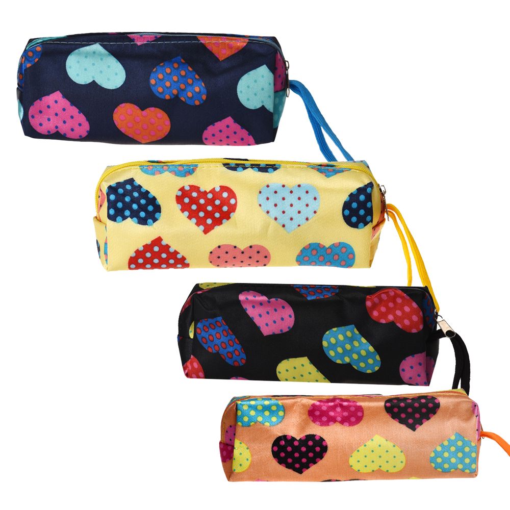 New Fashion Women Satin Makeup Bag Heart Square Multicolor Travel Cosmetic Bag Pouch Clutch Handbag Casual Purse mh006 women cosmetic cases 18 5 11cm fashion ms clutch korea cute wash satin pouch handbag bag printing love package
