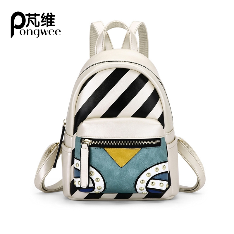 PONGWEE Fashion School Bag Brand Designer Bohemia Spanish Style Backpack Women Striped Rivets Partwork PU Leather