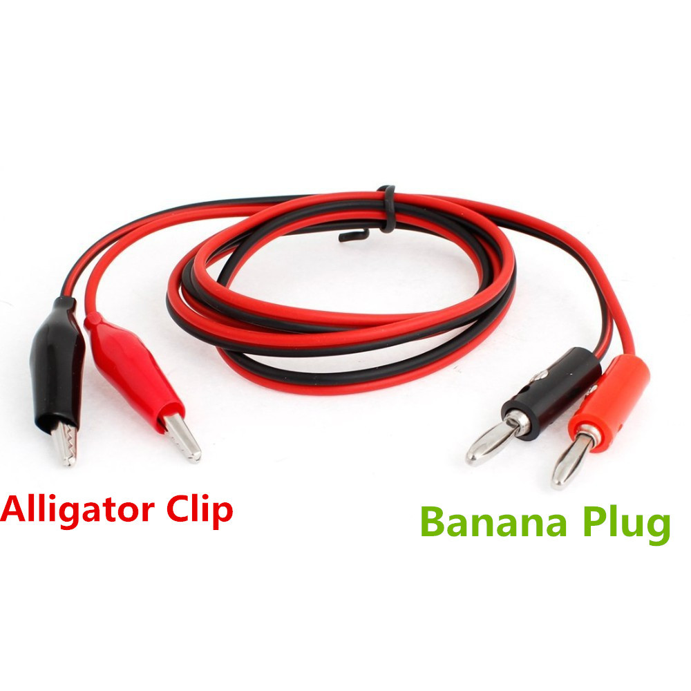 Alligator Clip Test Leads To Banana Plug Probe Cable 1M Battery Clamps