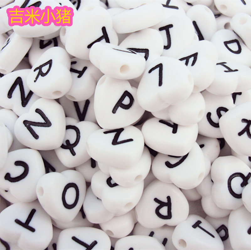 2019 Acrylic Letter Children's Beads Toys Girl Gifts Diy White Black Bead Love DIY Lacing Toy Jewelry Making Supplies Wholesale