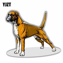 YJZT 14CMx11.8CM Lovely Boxer Breed Dog Car Decoration Bumper PVC High Quality Car Sticker C1-9078(China)