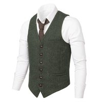 VOBOOM Men Waistcoat Suit Vest Male Herringbone Wool Blend Tweed Single breasted Green Vests 007