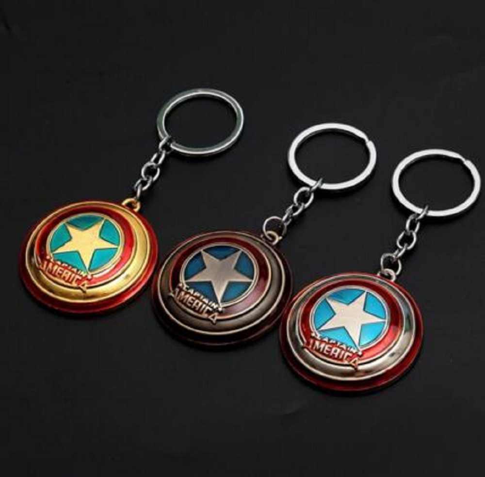 Xoay được Khiên Captain America Móc Khóa Móc Khóa Avengers Tặng Móc Khóa Chaveiro Llavero Porte Cosplay Nhẫn Đồ Chơi