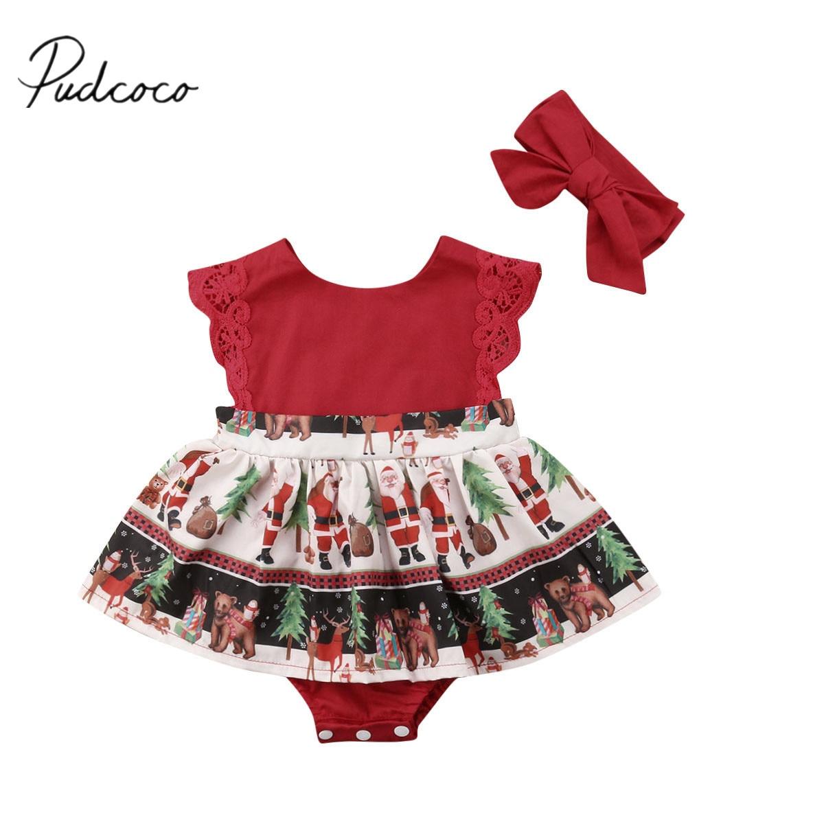 2018 Brand New Christmas Toddler Baby Girls Santa Romper Dress Lace Sleeve Ruffles Jumpsuits Claus Print Playsuit Dress+Headband