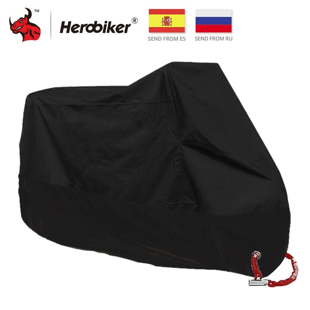 HEROBIKER Motorcycle Cover All Season Waterproof Dustproof UV Protective Outdoor Indoor Lock-holes Design Motorbike Rain Cover